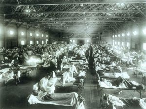 Temporary hospital in black and white