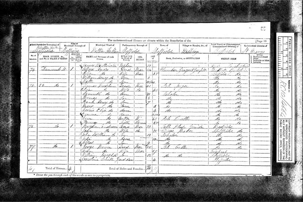"""1871 England Census,"", database on-line and digital images, Ancestry UK (http://www.ancestry.co.uk : downloaded image 5 August 2006), Class: RG10, Piece: 4664, Folio: 85, Page: 15, and GSU roll: 847222; Census Returns of England and Wales, 1871. Kew, Surrey, England: The National Archives of the UK (TNA): Public Record Office (PRO), 1871."
