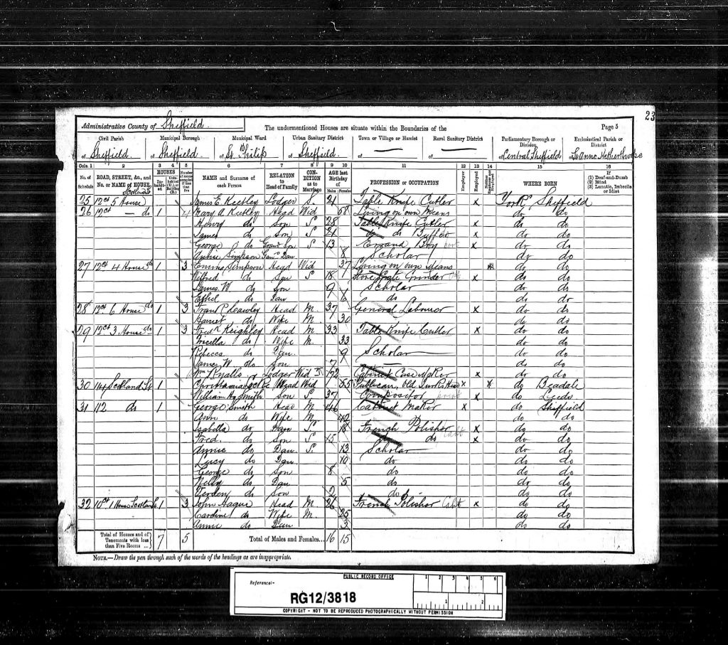 """1891 England Census,"", database on-line and digital images, Ancestry UK (http://www.ancestry.co.uk : downloaded image 27 March 2010), Class: RG12, Piece: 3818, Folio 23, Page 5, and GSU roll: 6098928; Census Returns of England and Wales, 1891. Kew, Surrey, England: The National Archives of the UK (TNA): Public Record Office (PRO), 1891."