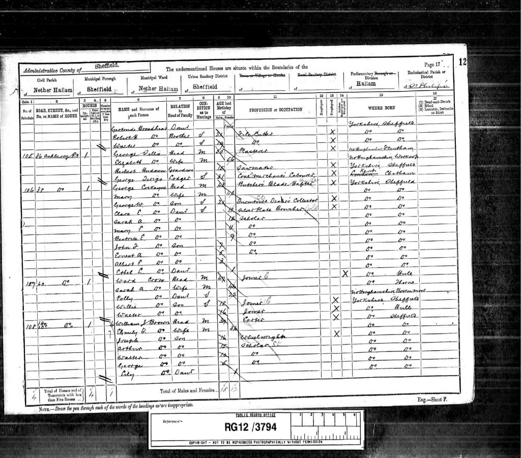 """1891 England Census,"", database on-line and digital images, Ancestry UK (http://www.ancestry.co.uk : downloaded image 6 August 2006), Class: RG12, Piece: 3794, Folio 12, Page 17, and GSU roll: 6098904; Census Returns of England and Wales, 1891. Kew, Surrey, England: The National Archives of the UK (TNA): Public Record Office (PRO), 1891."