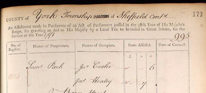 James Healey 1798 taxes