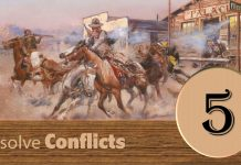 Step Five Resolve Conflicts image of a western gun fight