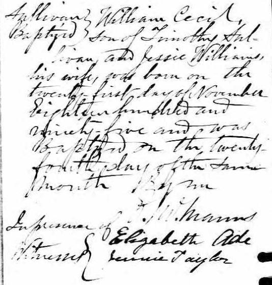 William Sullivan Baptism